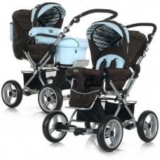 Универсальная коляска ABC Design Pramy Luxe 2 в 1 Magic, коричневый с голубым