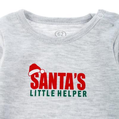Боди Фламинго Santa's Little Helper серого цвета, р. 68 127-212 ТМ: ФЛАМИНГО