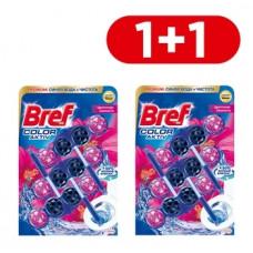 Туалетный блок для унитаза Bref Color aktiv Цветочная свежесть, 3 шт. 1+1