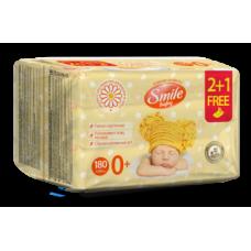 Влажные салфетки Smile Baby 2 + 1 Экстракт ромашки и алоэ, 180 шт.